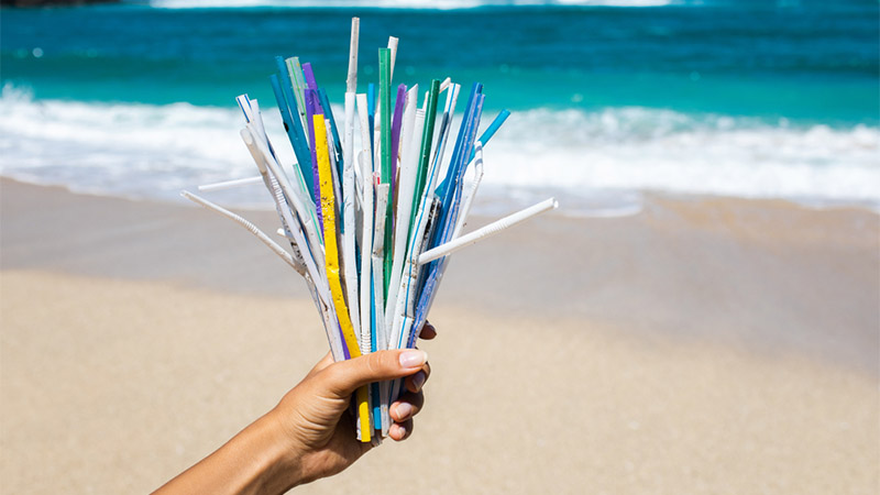 Straws on beach